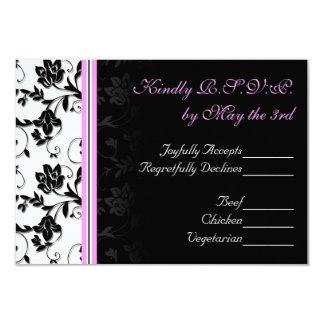 Schwarzes, weißes und rosa Hochzeit MIT BLUMENUAWG 8,9 X 12,7 Cm Einladungskarte