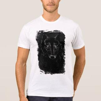 Schwarzes Wolf-Porträt auf dem Schmutz BG T-Shirt
