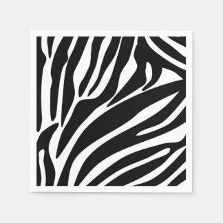 Schwarzes Zebra-Druck-Muster Papierserviette