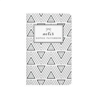 Schwarzes zeitgenössisches Dreieck-Muster Taschennotizbuch