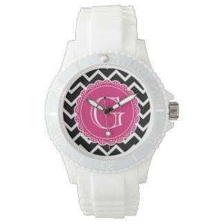 Schwarzes Zickzack heißes Rosa-Monogramm Uhr