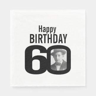 Schwarzweiss-60. Geburtstags-Fotoservietten Papierserviette