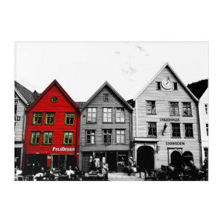 Schwarzweiss-Acrylplatte Bergens Norwegen Europa Acryldruck