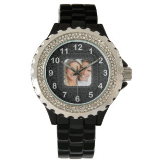 Schwarzweiss addieren Sie Ihr Foto Armbanduhr