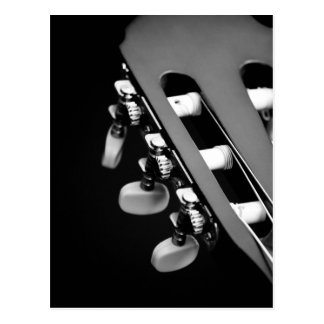 Schwarzweiss-Akustikgitarre-Kopf Postkarte