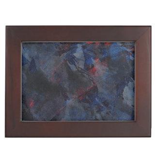 Schwarzweiss auf blauem und rotem Hintergrund Erinnerungsdose