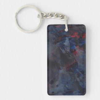 Schwarzweiss auf blauem und rotem Hintergrund Schlüsselanhänger