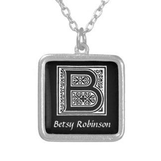 Schwarzweiss-b-Monogramm-Initiale personalisiert Halskette Mit Quadratischem Anhänger