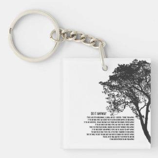 Schwarzweiss-Baum tun es irgendwie Schlüsselanhänger