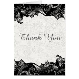 Schwarzweiss-Blumen danken Ihnen Karte