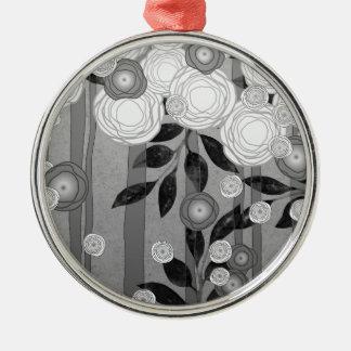 Schwarzweiss-Blumen-Entwurf Silbernes Ornament