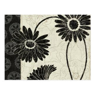 Schwarzweiss-Blumen Postkarten