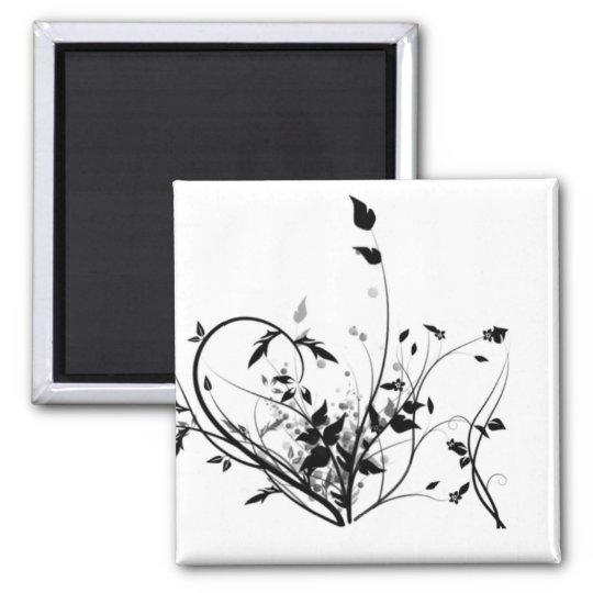 Schwarzweiss-Blumen Quadratischer Magnet