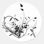 Schwarzweiss-Blumen Runder Aufkleber