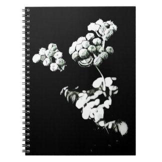 Schwarzweiss-Blumen-Skizze-Notizbuch Notizblock