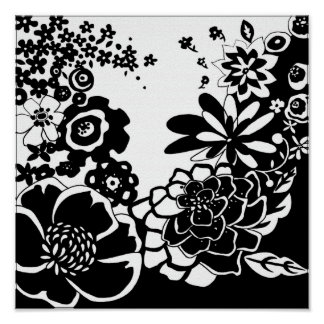 Schwarzweiss-Blumengarten-Grafik-Muster Poster