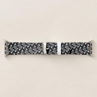 Schwarzweiss-Blumenmuster Apple Watch Armband