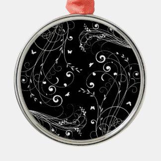 Schwarzweiss-Blumenmuster Rundes Silberfarbenes Ornament