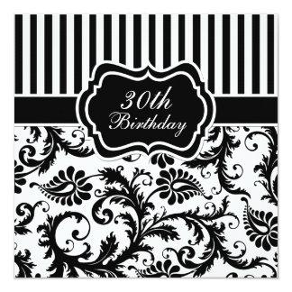 Schwarzweiss-Blumenstreifen-30. Geburtstag laden Quadratische 13,3 Cm Einladungskarte