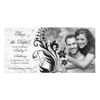 Schwarzweiss-Blumenwedding Save the Date Photogrußkarten