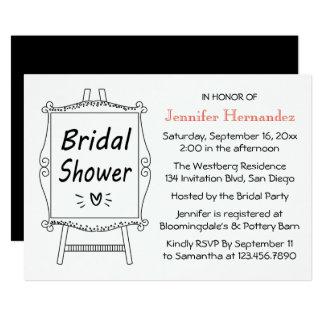 Schwarzweiss-Brautparty-Hochzeits-Zeichen-Gestell Karte
