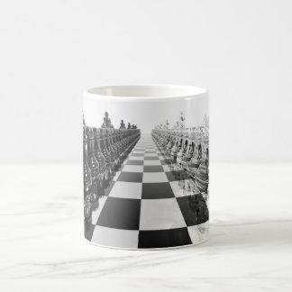 Schwarzweiss-Brett des Schach-3D Kaffeetasse