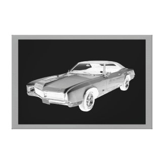 Schwarzweiss-Buick- RivieraPop-Kunst 1967 Leinwanddruck