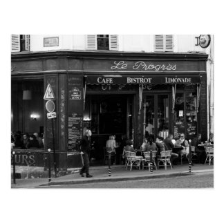 Schwarzweiss-Café in Montmartre, Paris Postkarte
