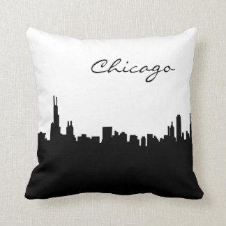 Schwarzweiss-Chicago-Sehenswürdigkeit Kissen