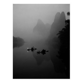 Schwarzweiss China Li-Fluss Fischer an Postkarte