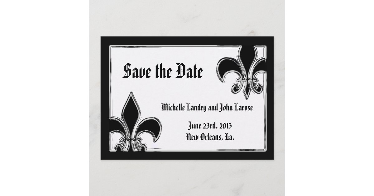 schwarzweiss chrom lilie save the date zazzle. Black Bedroom Furniture Sets. Home Design Ideas