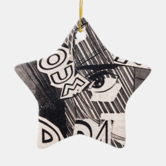 Schwarzweiss-Collagen-Comic-Muster Keramik Ornament