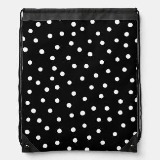 Schwarzweiss-Confetti-Punkt-Muster Turnbeutel