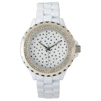 Schwarzweiss-Confetti-Punkte Armbanduhr