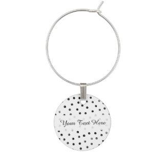 Schwarzweiss-Confetti-Punkte Weinglas Anhänger