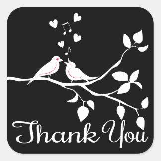 Schwarzweiss danke die Lovebirds, die Party Quadratischer Aufkleber