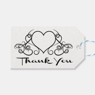 Schwarzweiss danke Herz-Hochzeit Geschenkanhänger