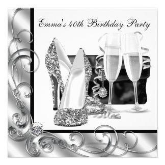 Schwarzweiss-der Geburtstags-Party der Frau