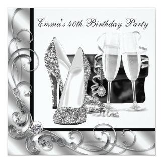 Schwarzweiss-der Geburtstags-Party der Frau Personalisierte Einladung