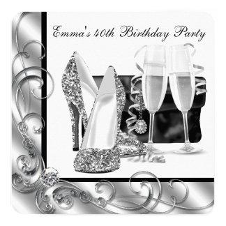 Schwarzweiss-der Geburtstags-Party der Frau Quadratische 13,3 Cm Einladungskarte
