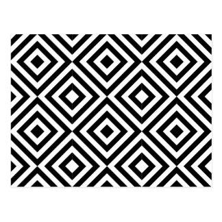 Schwarzweiss-Diamant-Form-Muster Postkarte