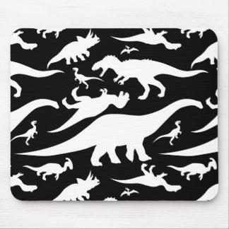 Schwarzweiss-Dinosaurier-Muster Mousepad