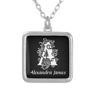 Schwarzweiss eine Monogramm-Initiale Halskette Mit Quadratischem Anhänger