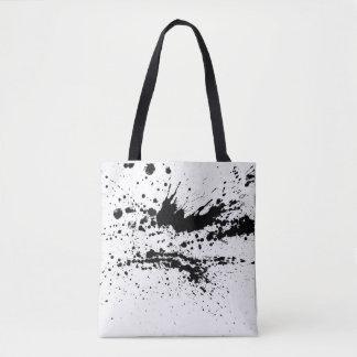Schwarzweiss-Farbe spritzt, lässt Muster fallen Tasche