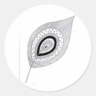 Schwarzweiss-Federgekritzel Runder Aufkleber