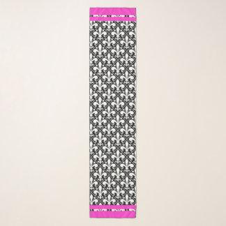 Schwarzweiss-Fleur de Lys mit Pink-Akzenten Schal