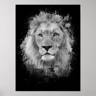 Schwarzweiss-Foto des majestätischen männlichen Poster