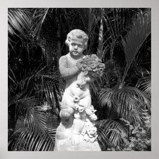 Schwarzweiss-Foto-Kinderstatue Poster