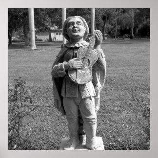 Schwarzweiss-Foto-Musiker-Statue Poster