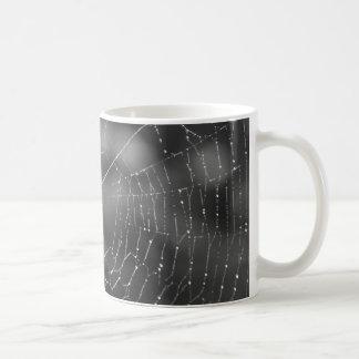 Schwarzweiss-Fotografie einer Spinne und des Kaffeetasse